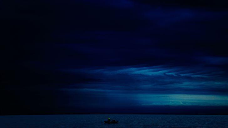 dark evening blue cloudy alone boat in ocean 5k Mac Wallpaper