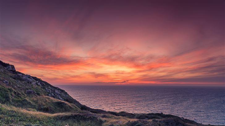 orange sky sunset at beach Mac Wallpaper