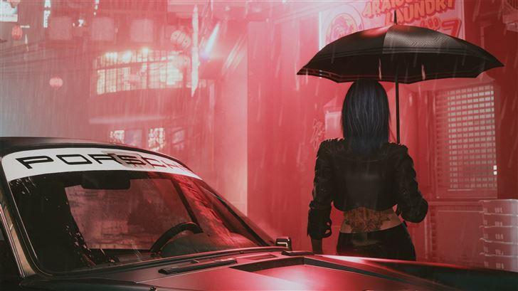 cyberpunk 2077 umbrella girl Mac Wallpaper