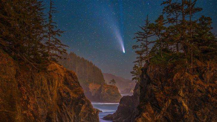 coast stars scenery oregon night trees 5k Mac Wallpaper
