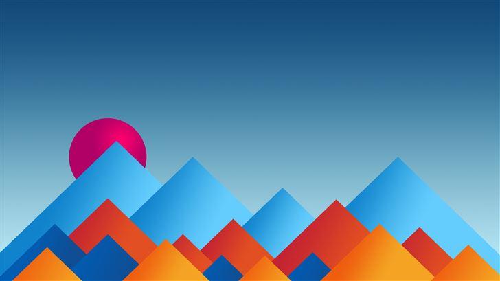 mountains sun minimal abstract 8k Mac Wallpaper