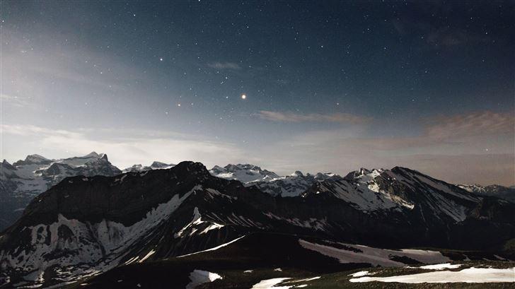sky star night snow mountains range 5k Mac Wallpaper