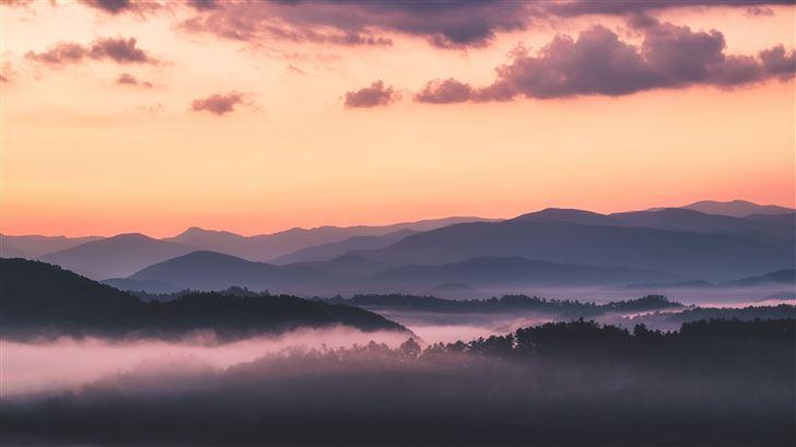 landscape mountains clouds sky trees sunrise 5k Mac Wallpaper