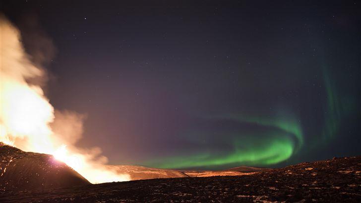 northern lights over the fagradalsfjall volcanic e Mac Wallpaper