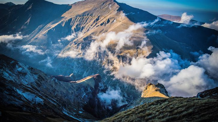 clouds mountains aerial view nature scenery Mac Wallpaper