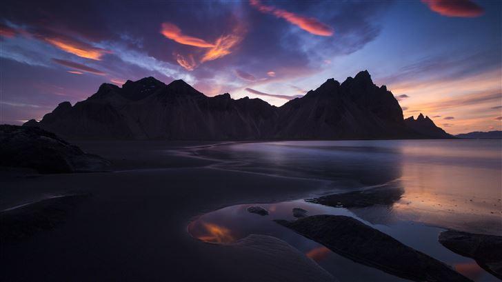 iceland rocks mountains sunset landscape 5k Mac Wallpaper