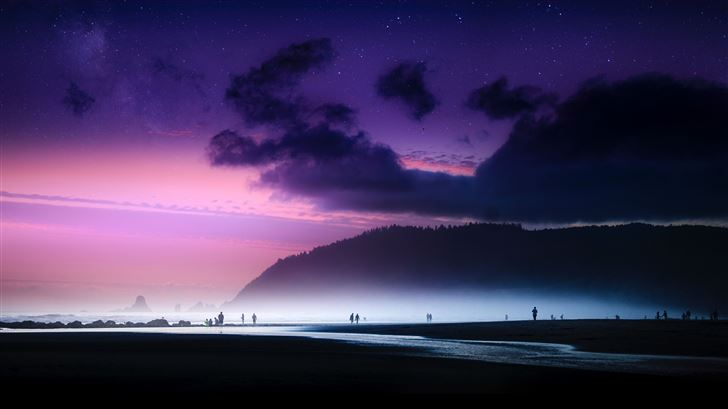 dreamy beach sky island ocean evening Mac Wallpaper