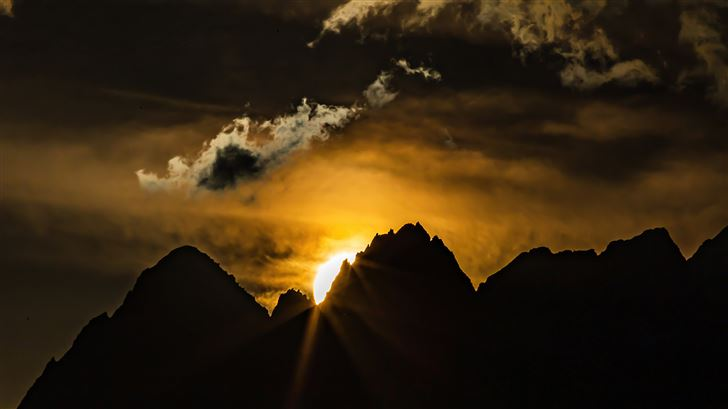 sunset over the swiss alps 5k Mac Wallpaper
