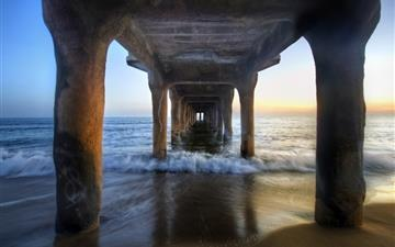 Sunset under the pier All Mac wallpaper