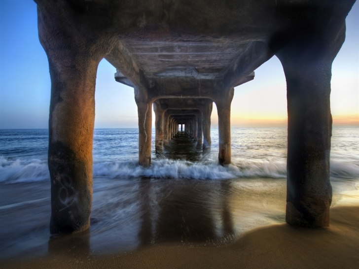 Sunset under the pier Mac Wallpaper
