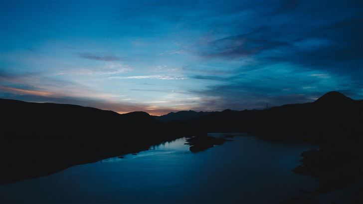 dark evening lake 5k Mac Wallpaper