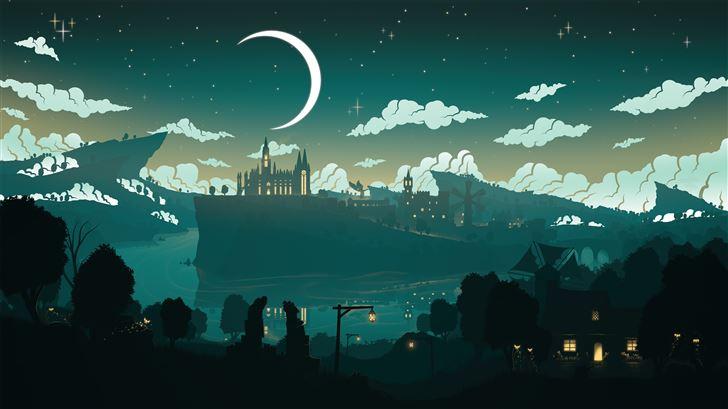 moon over monstadt genshin impact 5k Mac Wallpaper