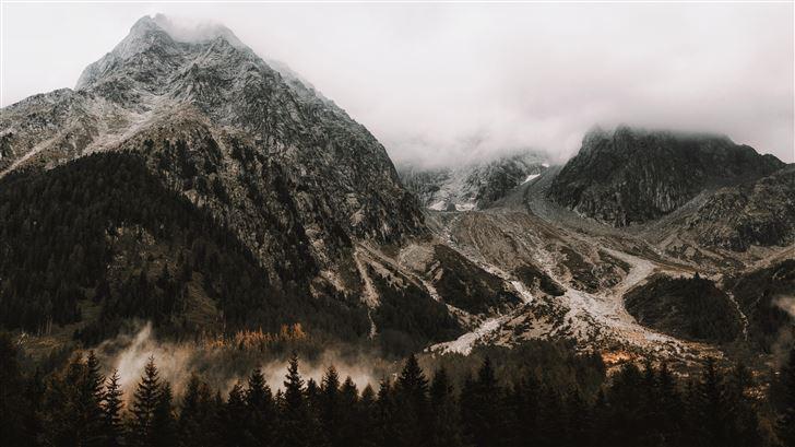 mountains peak landscape rocks snow trees 5k Mac Wallpaper
