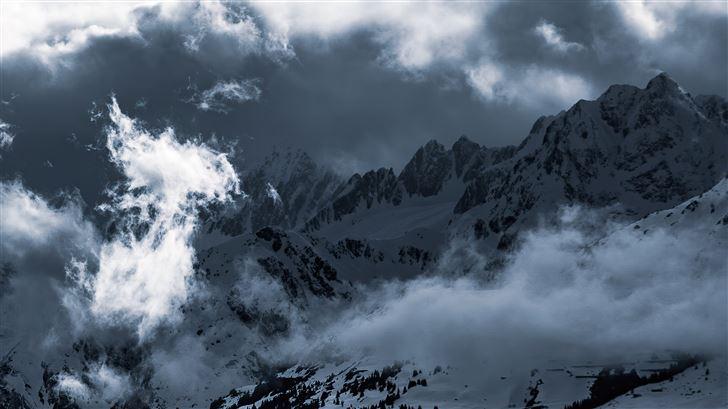 light clouds mountains snow 5k Mac Wallpaper
