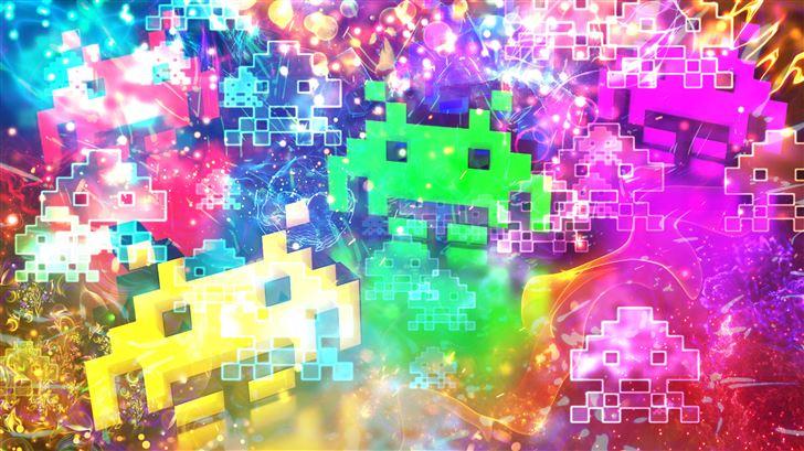 space invaders 5k Mac Wallpaper