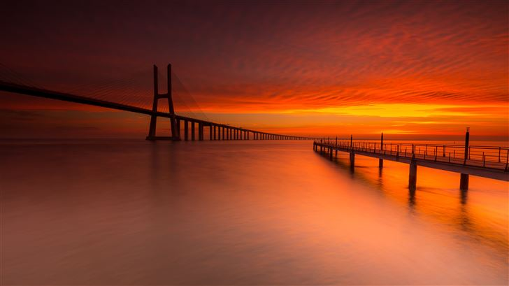 bridge sunset 5k Mac Wallpaper