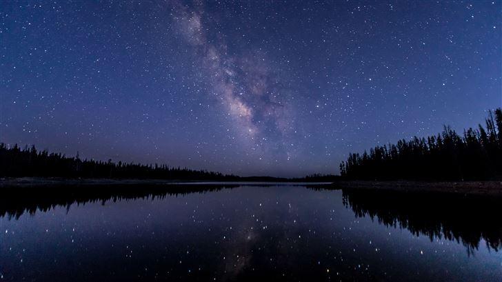 milkway lake water reflection stars 5k Mac Wallpaper