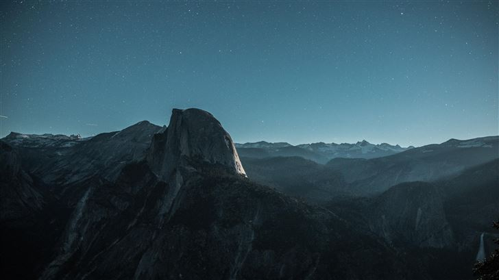 black mountain under blue sky 5k Mac Wallpaper