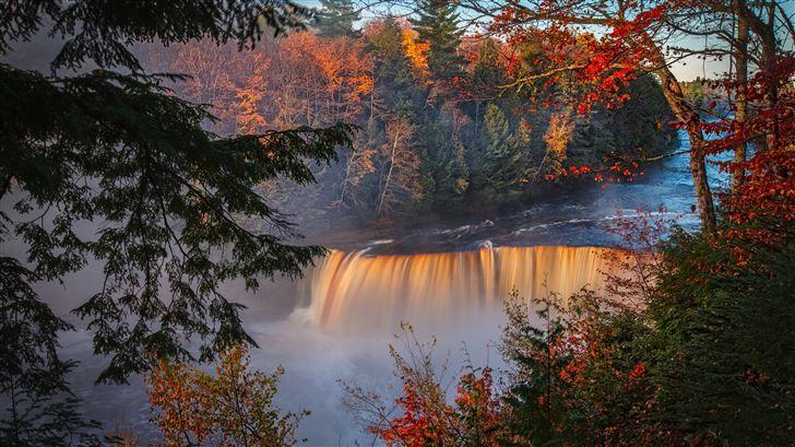 autumn waterfall forest fall 5k Mac Wallpaper