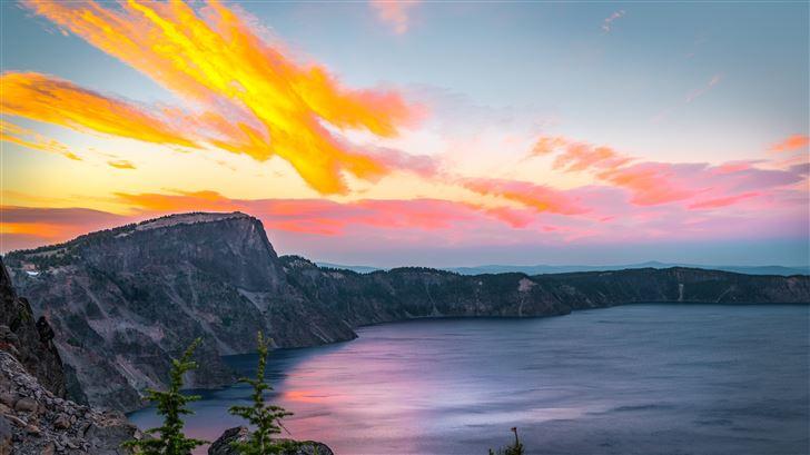 a calm sunset crater lake oregon Mac Wallpaper