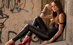 Brunettes leather girl