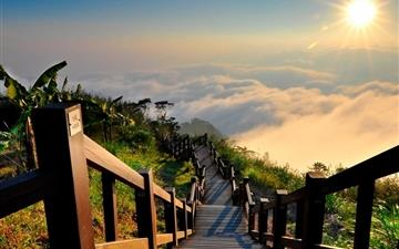 Stairs Clouds Sun Shines Brightly Mac wallpaper