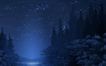 Winter night sky Mac wallpaper