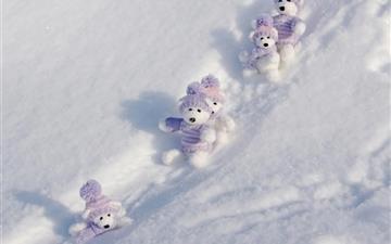 Teddy Bears Winte Break Mac wallpaper