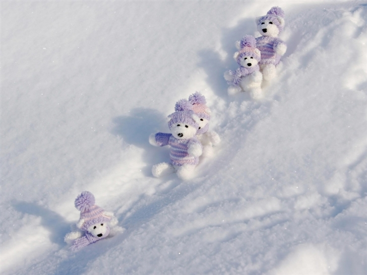 Teddy Bears Winte Break Mac Wallpaper