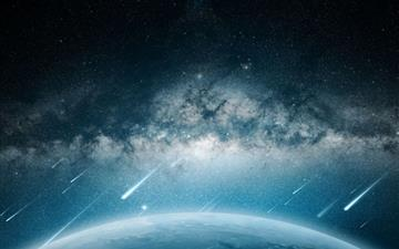 Space Meteorite Planet Rain All Mac wallpaper