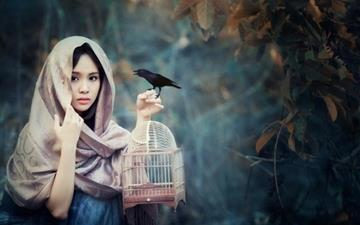 Girl with Bird Mac wallpaper