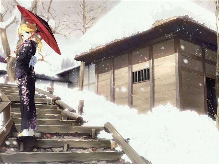 Zetsubou Sensei Winter Anime Umbrellas Mac Wallpaper