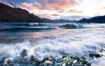 Stones Beach Wave Mountains Clouds All Mac wallpaper