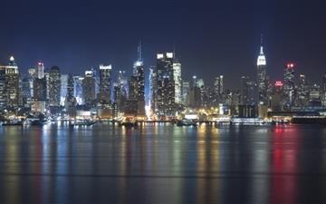 Manhattan Panorama At Night Mac wallpaper