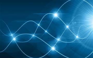 Glowing blue waves Mac wallpaper