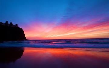 Amazing sunset at beach Mac wallpaper