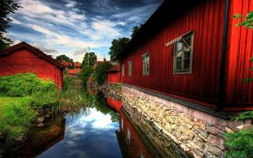 Nature River Red house Mac wallpaper