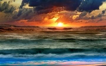 Full color sunset at sea Mac wallpaper