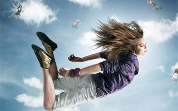 Sky Girls Young People Clouds Mac wallpaper