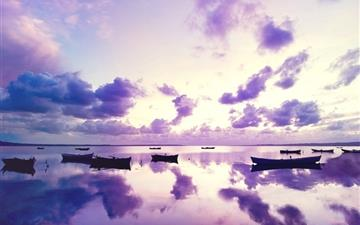 Purple Sunset In Ocean MacBook Air wallpaper