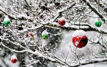 Christmas Ornaments In The Snow Mac wallpaper