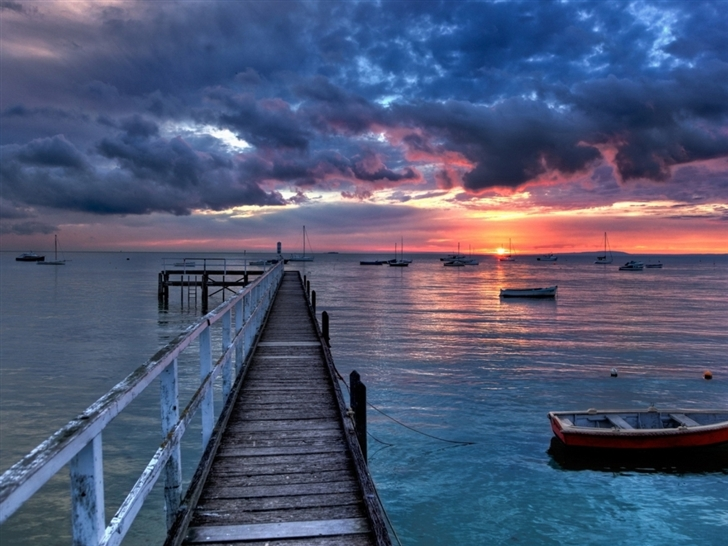 Boats Sunset Mac Wallpaper