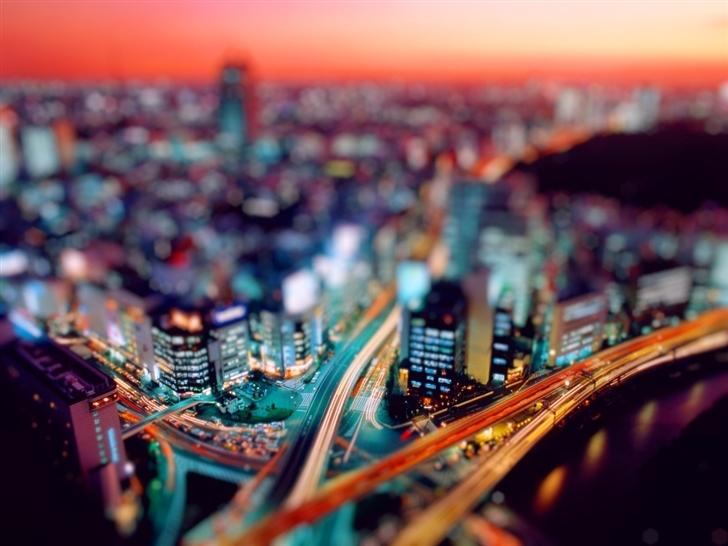 Night city tilt shift Mac Wallpaper