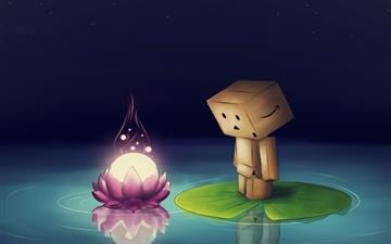 Water Flower Danbo Lotus Leaf Mac wallpaper
