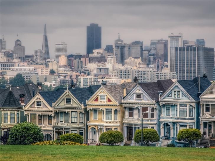 Victorian Houses In Alamo Square San Francisco California USA Mac Wallpaper