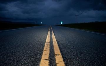 Empty Road At Night Mac wallpaper
