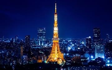 Tokyo Tower at night Mac wallpaper