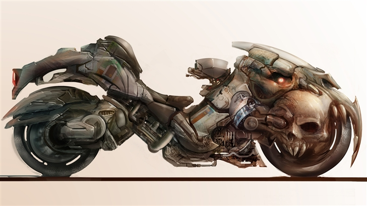 Motorcycle with skull Mac Wallpaper
