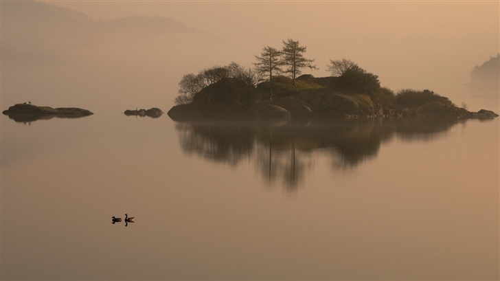 The islet and  wild duck Mac Wallpaper