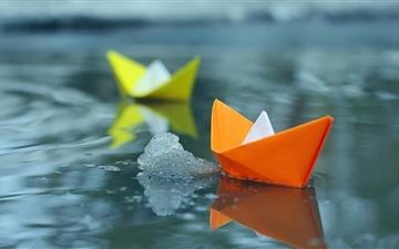 Paper Boats On Icey Lake MacBook Pro wallpaper